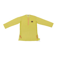 Elephant Motif Yellow Kurta With Orange Dhoti