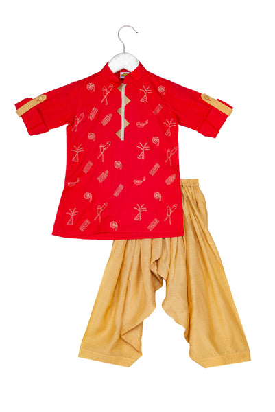 Diwali Pataka (fireworks) Zari Embroidered Pathani Kurta with Patiala
