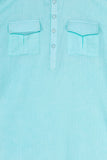 Sky Blue Pathani Kurta With White Patiala Set