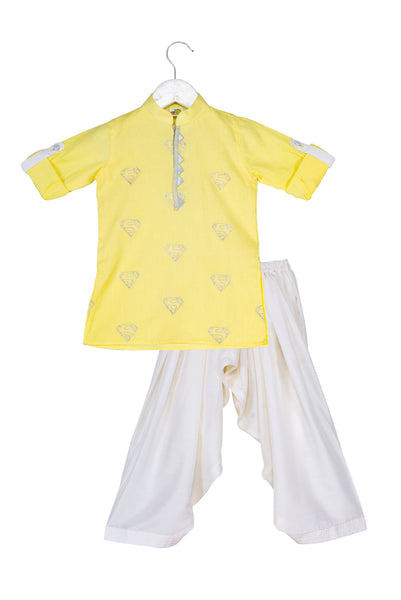 Superhero Embroidered Pathani Kurta With White Patiala Set