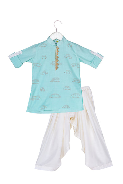 Cars Embroidered Pathani Kurta With White Patiala Set