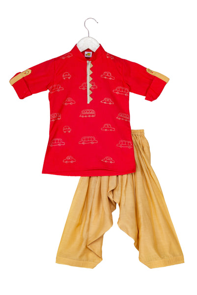 Cars & Buses Zari Embroidered Pathani Kurta with Patiala