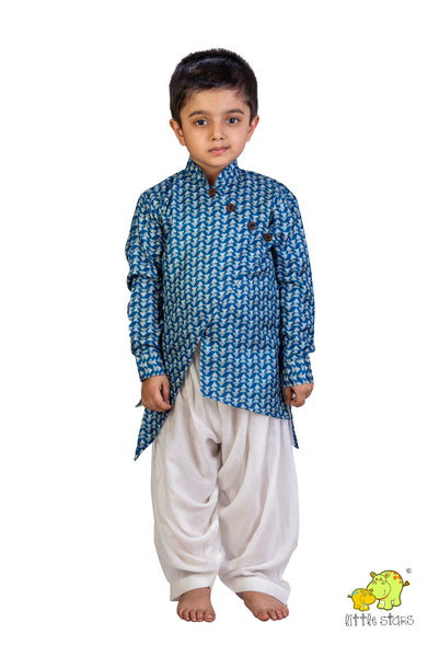 Asymmetric Printed Kurta With White Patiala Set
