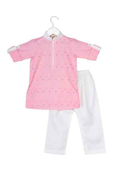 Cross Embroidered Pastel Coloured Kurta Pyjama Set