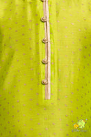 Lime Green Printed Kurta with Shaded Dhoti
