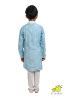 Blue embroidered Kurta Churidar Set