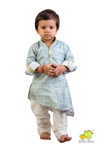 Printed Kurta With White Churidar Set