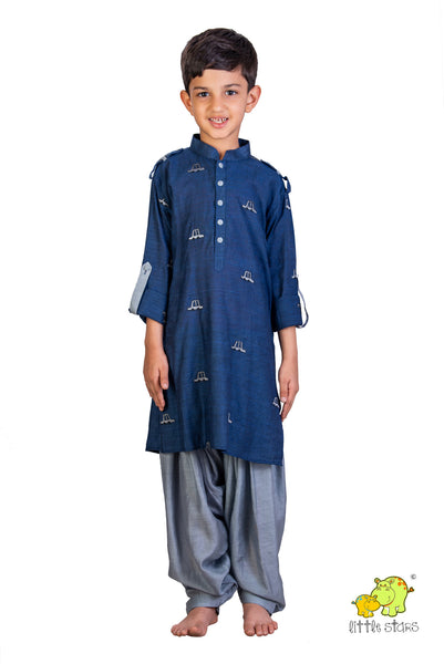 Car Embroidered Pathani Kurta With Grey Patiala Set