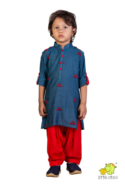 Car Embroidered Pathani Kurta With Red Patiala Set