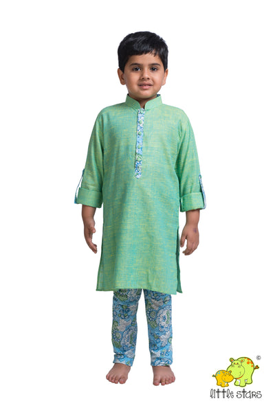 Khadi Kurta with Printed Churidar Set