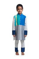 Colour Blocked Kurta Churidar Set