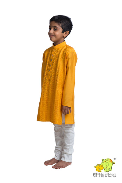 Textured Kurta Churidar Set