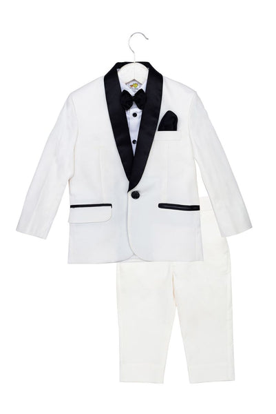 White Tuxedo Set with Black Bow, White Shirt and White Trousers