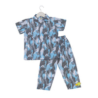Camouflage Printed Blue Nightsuit Set