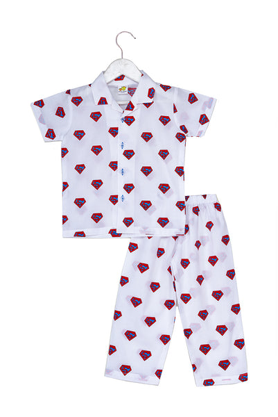 Superhero Blue Printed Nightsuit Set