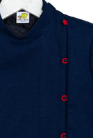 Navy Blue Side Open Bandhgalas with Loop Buttons