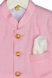 Pink Bandhgala with Golden Metal Buttons