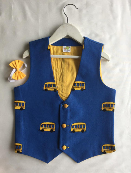 Bus Embroidered Waistocat with Detachable Yellow Bow