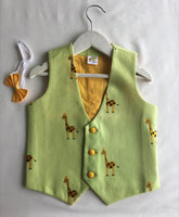 Giraffe Embroidered Waistocat with Detachable Yellow Bow