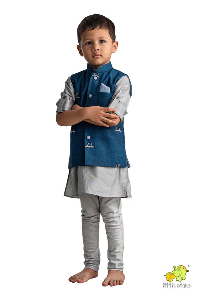 Car Embroidered Nehru Jacket with Grey Kurta Set