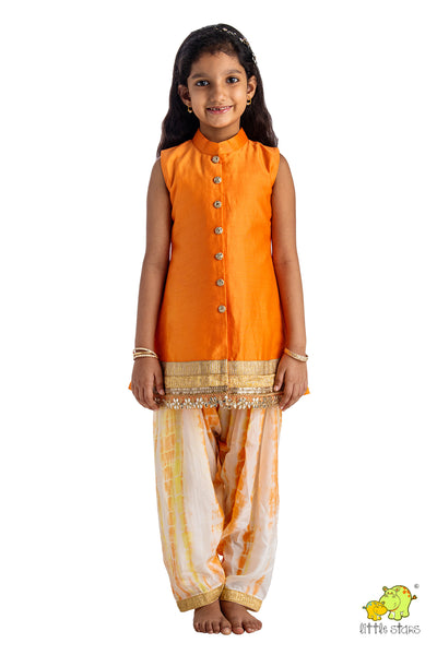 Sleeveless Top With Marble Dyed Salwar Pants