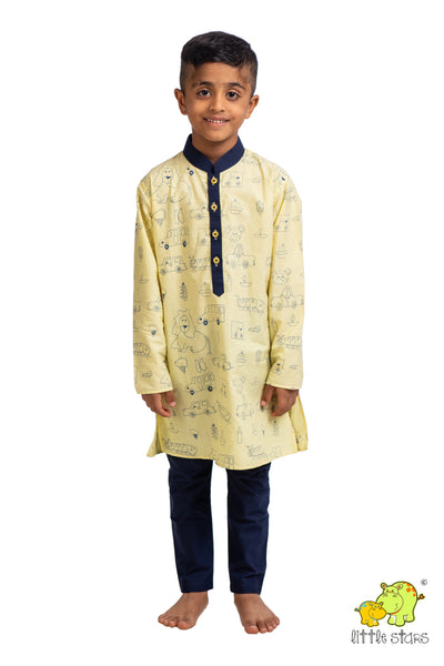 Assorted Graphics Printed Kurta Churidar Set
