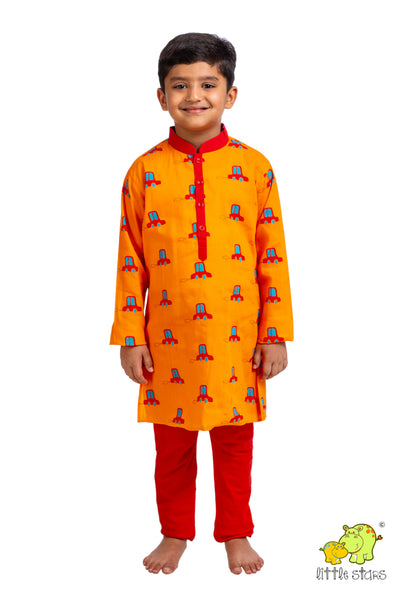 Red Cars Printed Kurta Churidar Set