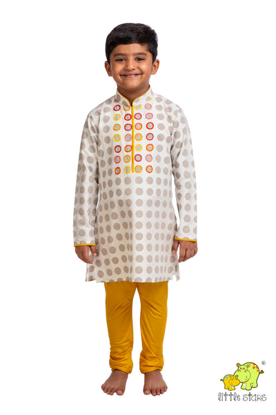 Polka Hand Embroidered Kurta Churidar Set