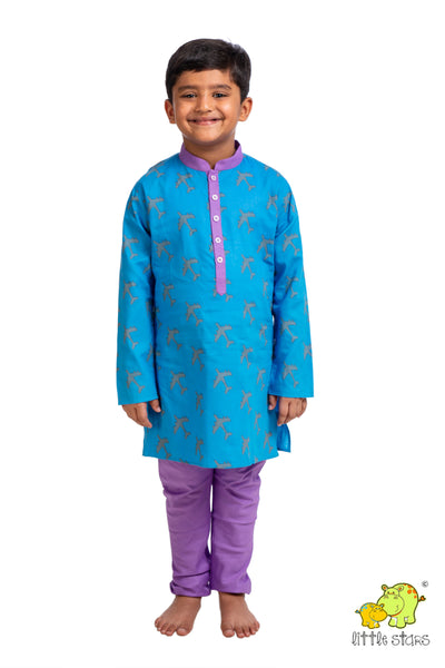 Aeroplane Printed Kurta Churidar Set