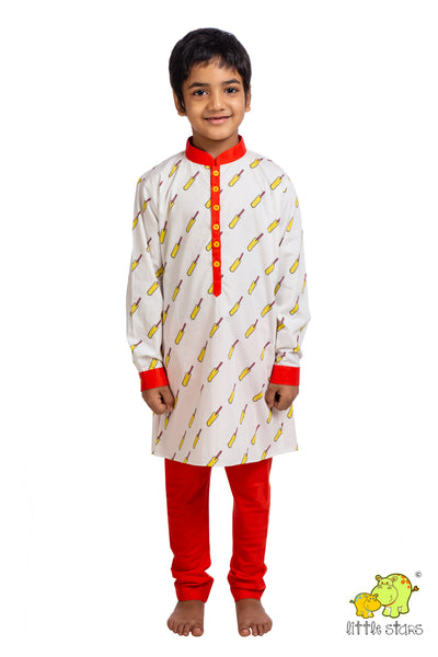 Cricket Bat Printed Kurta Churidar Set