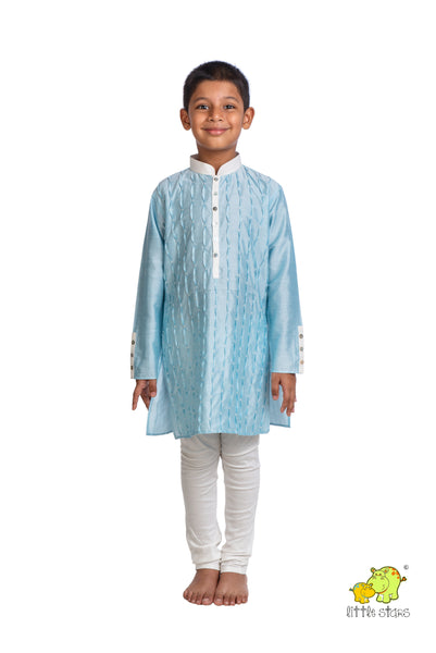 Blue Hand Embroidered Kurta Churidar Set