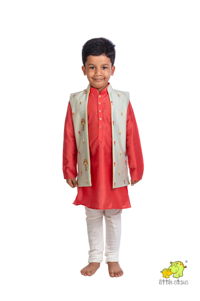 Embroidered Jacket with Kurta Churidar Set