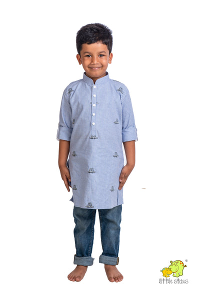 Checked Cotton Kurti with Cars (Top only)