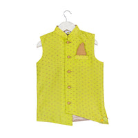 Gold Printed Lime Green Jacket with Golden Beige Kurta Set