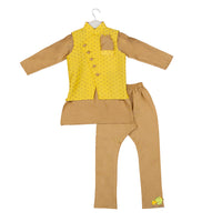 Gold Printed Yellow Jacket with Golden Beige Kurta Set