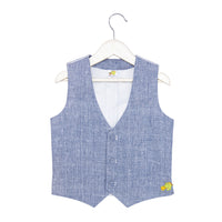 Denim Blue Waistcoat Bow Shirt & Trouser Set- Perfect for Birthdays