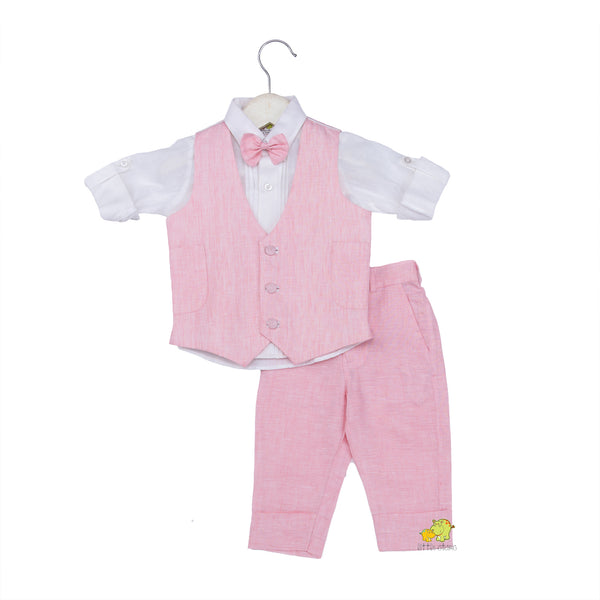 Pink Waistcoat Bow Shirt & Trouser Set- Perfect for Birthdays