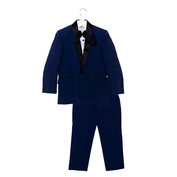 Navy Tuxedo Set with Black Bow, White Shirt and Navy Trousers