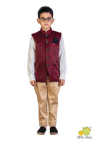 Maroon Textured Nehru Jacket (Jacket only)