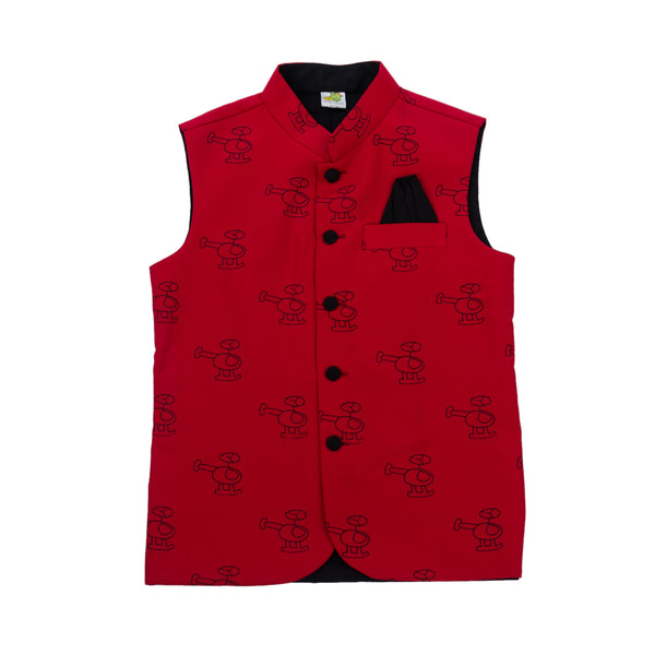Helicopter Printed Nehru Jacket (Jacket only)