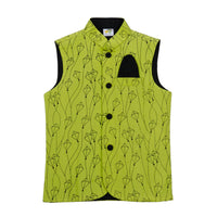 Kite Printed Raw silk Nehru Jacket