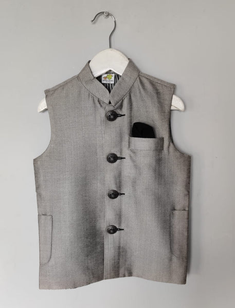 Gray Textured Nehru Jacket with Metal Buttons (Jacket only)