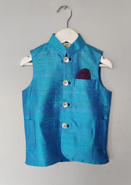 Solid Coloured Nehru Jacket with Printed Lining(Jacket only)
