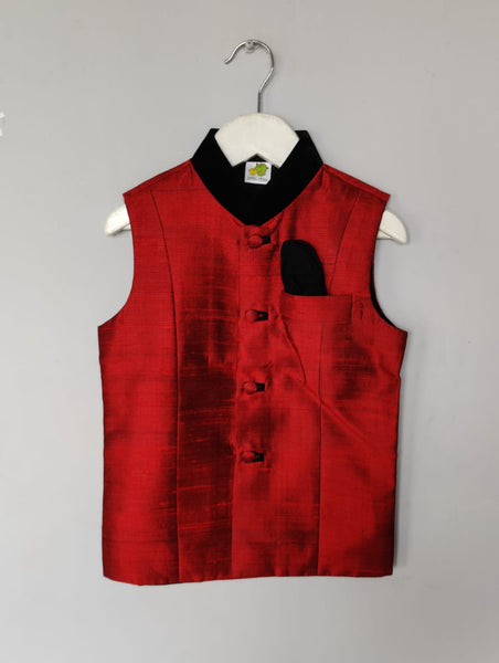 Solid Coloured Nehru Jacket with Velevt Collar (Jacket only)