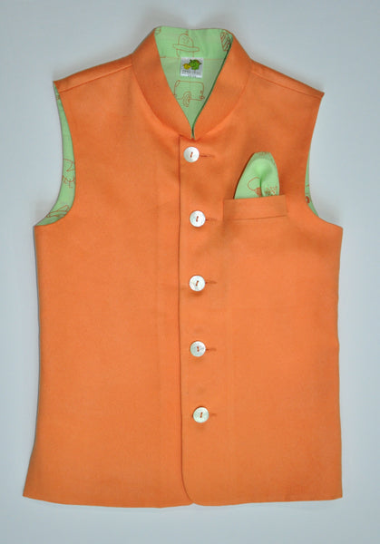 Suede Nehru Jacket with Printed Lining (Jacket only)