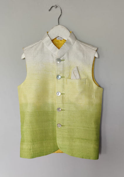 Shaded Ombre Coloured Nehru Jacket with Printed Lining(Jacket only)