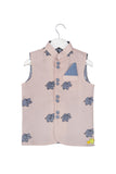 Elephant embroidered Pink Nehru Jacket