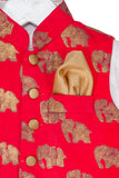 Gold Elephant Printed Jacket with White Kurta Pyjama Set