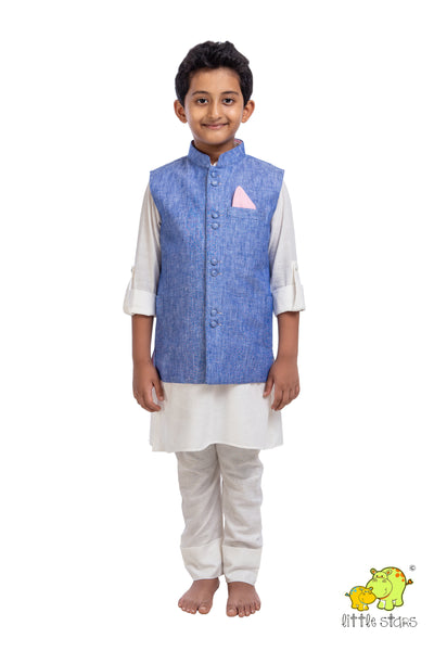 100% Linen Denim Nehru Jacket (Jacket only)