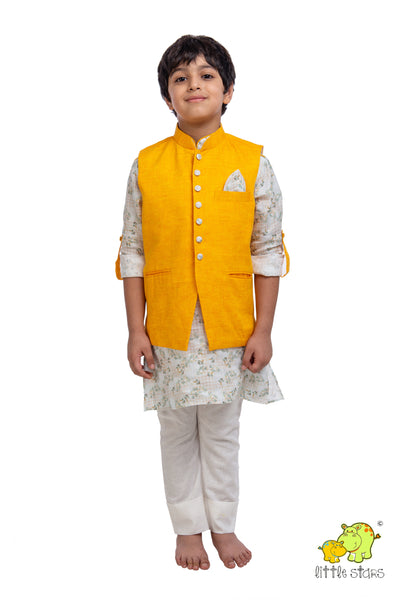100% Linen Mango Orange Nehru Jacket (Jacket only)